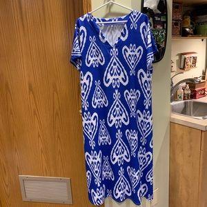 Blue and white graphic midi dress.